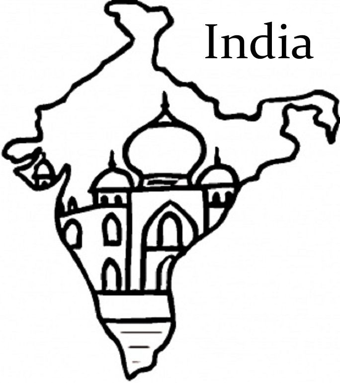 684x770 India Flag And Map Colouring Pages