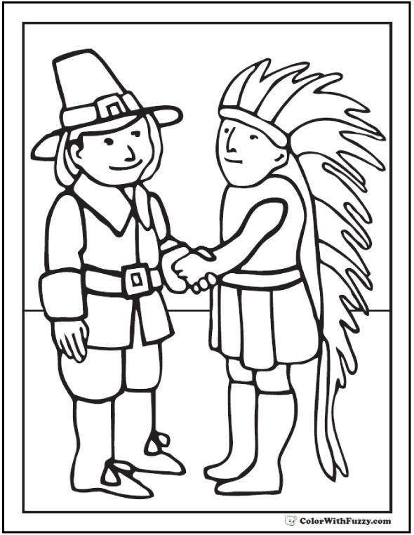 590x762 Indian Pilgrim Coloring Sheet Buckles, Hat, Headdress