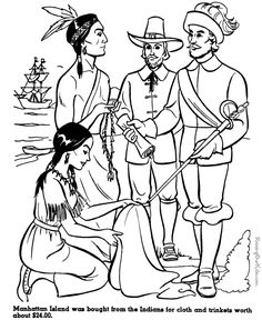 236x288 Indian And Pilgrim Coloring Pages Bible Printables The First