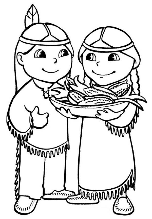 600x864 Native American Couple Celebrating Thanksgiving Day Free Coloring
