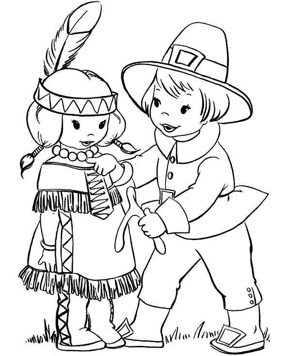 600x734 Pilgrim Boy Giving Thanksgiving Day Wishbone To Little Indian Girl