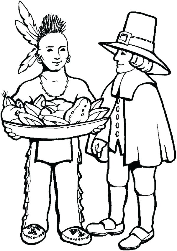 600x852 Pilgrim Coloring Pages Free Native And Young On Thanksgiving Day