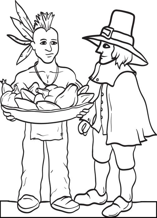 504x700 Pilgrim Coloring Pages Free Printable Pilgrim And Indian Coloring