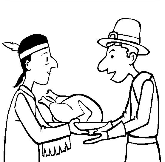 553x543 Printable Thanksgiving Indian Pilgrim Coloring Page