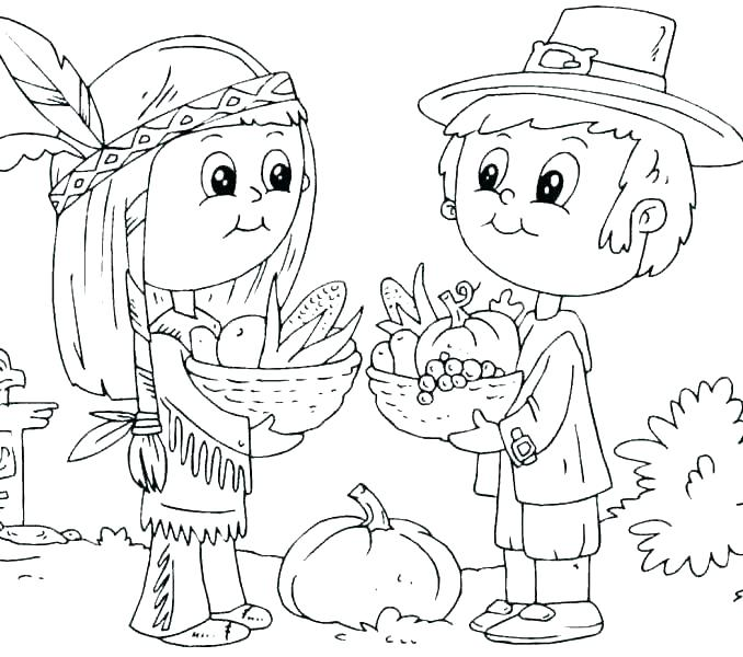 678x600 Pilgrim And Indian Coloring Pages