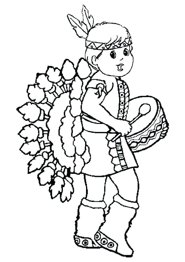 600x850 Indian Color Pages National Clothing Coloring Page Native American