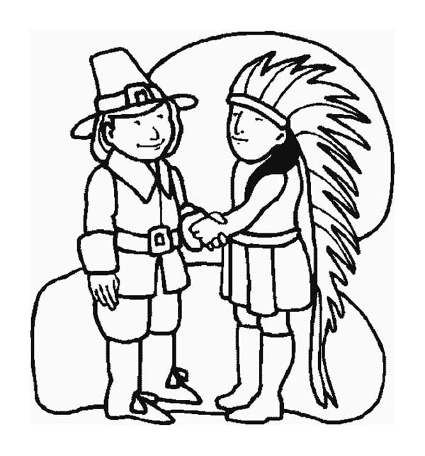 600x643 A Pilgrim And Indian Chief Shaking Hand On Thanksgiving Day