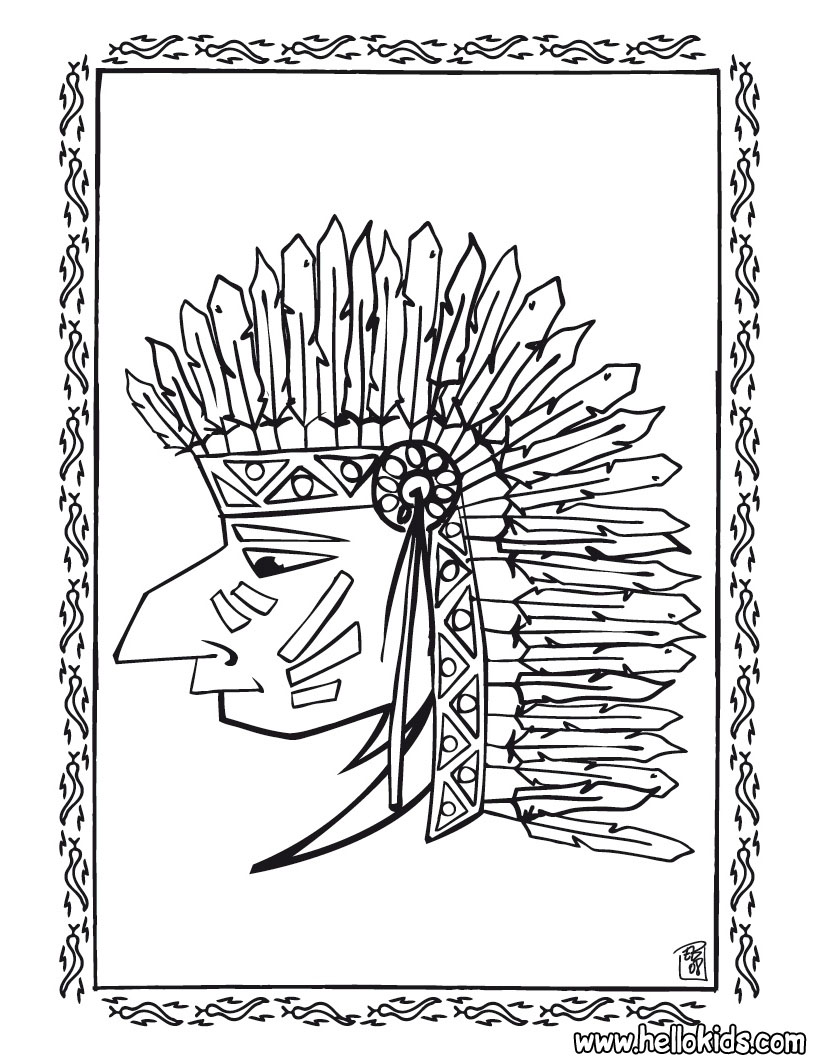 820x1060 Indian Chief Portrait Coloring Pages