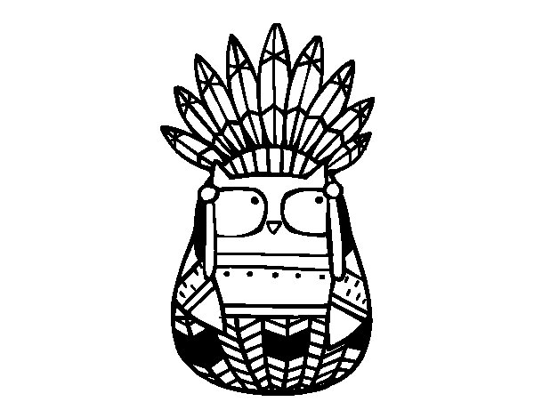 600x470 Owl Indian Chief Coloring Page