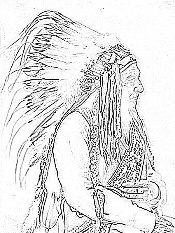 600x799 Animal Coloring Pages For Adults American Indian Chief