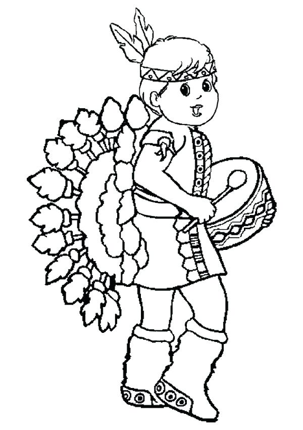 600x850 Indian Color Pages Little Red Girl Thanksgiving Coloring Pages