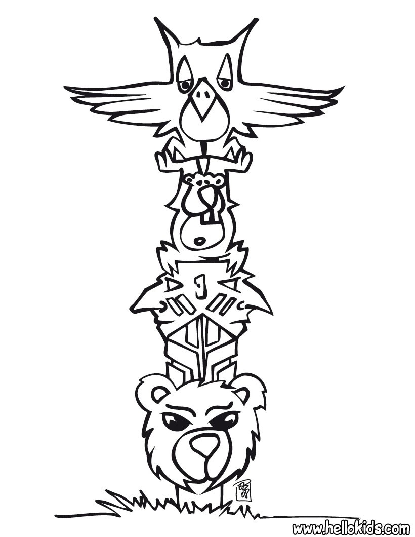 820x1060 Indian Totem Coloring Pages