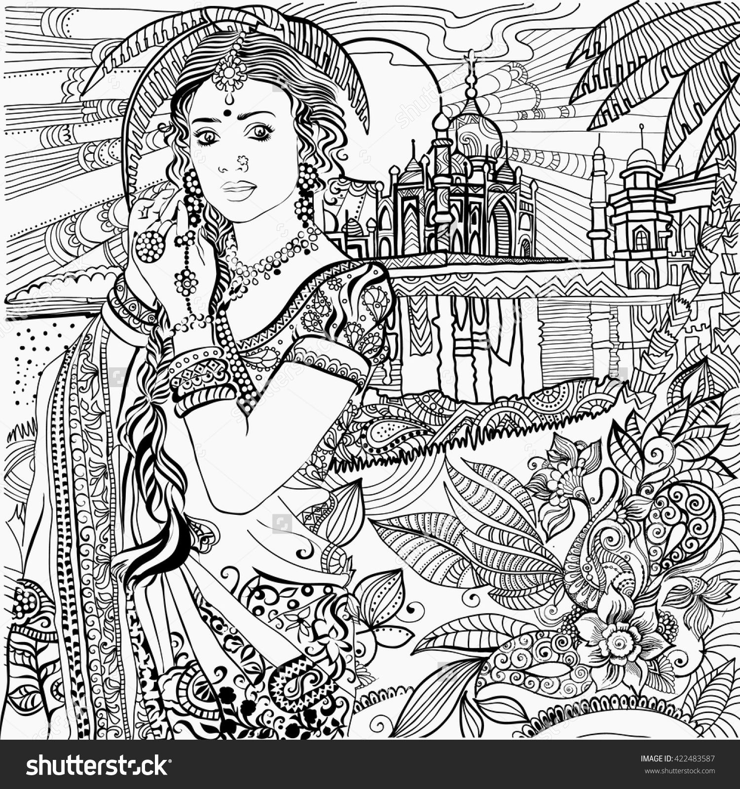 1500x1600 Indian Woman Coloring Page Adult Coloring Pages