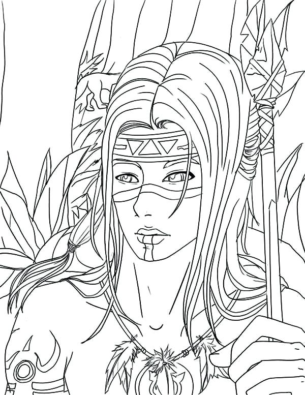 600x777 Native American Coloring Pages Free Native Warrior Coloring Page