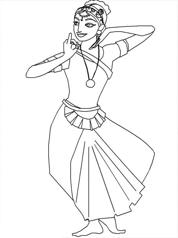 600x799 Indian Dancer Beautiful Ladies Coloring Page Coloring Sun