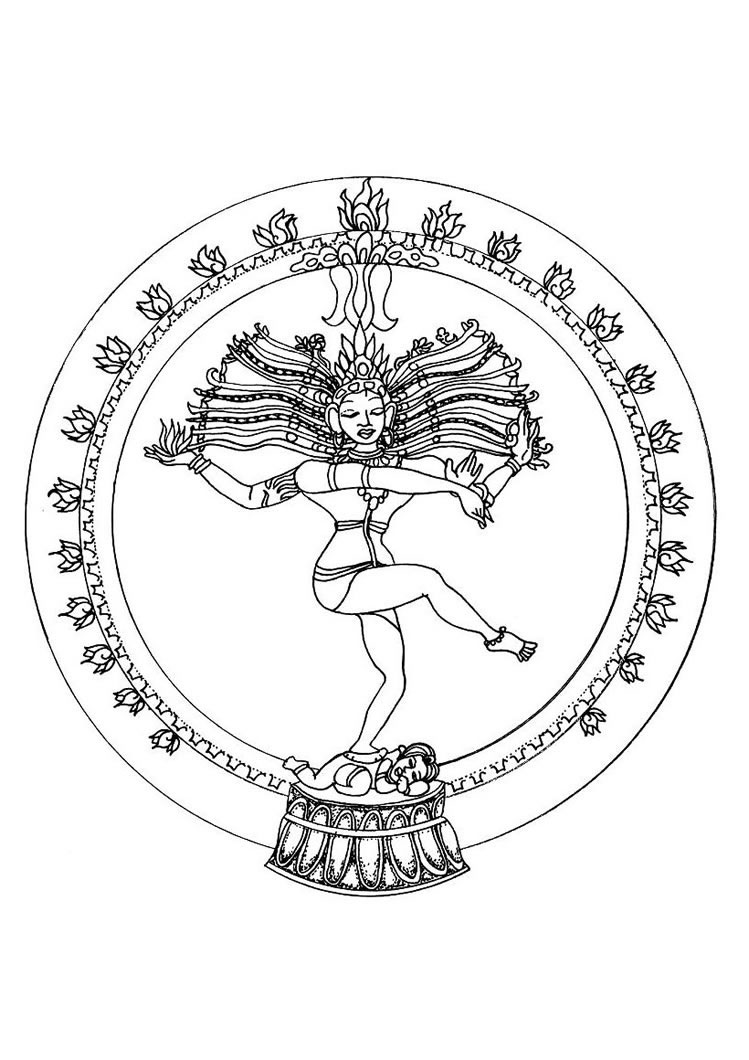 749x1060 Indian Shiva Dance Mandala Coloring Pages