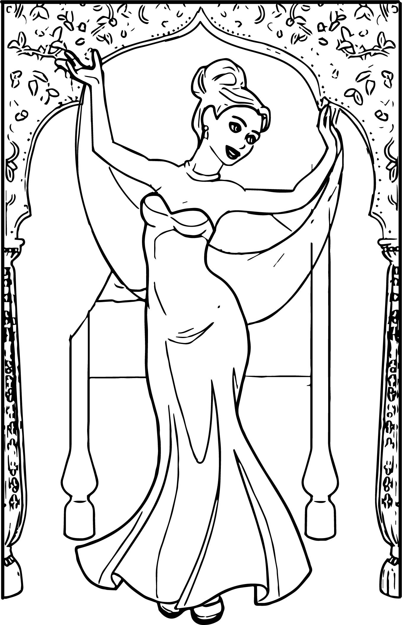 1356x2106 Anastasia Ballet Dress Indian Dancer Coloring Page Pages