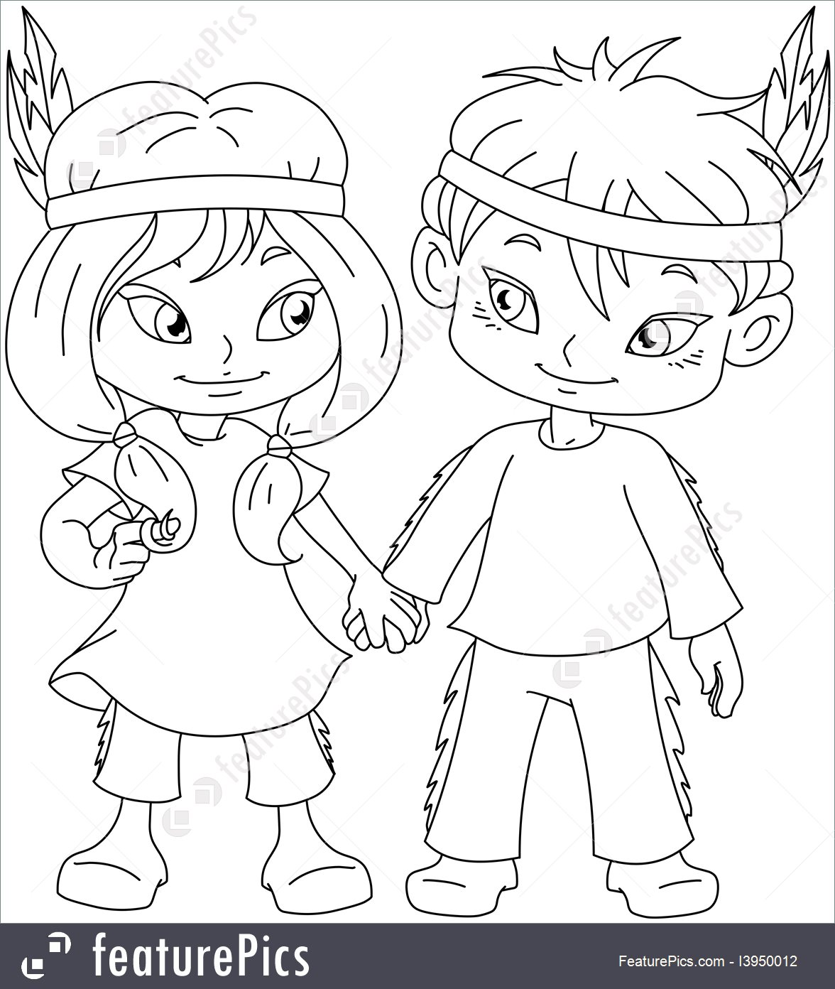 1176x1392 Indian Boy And Girl Holding Hands For Thanksgiving Coloring Page