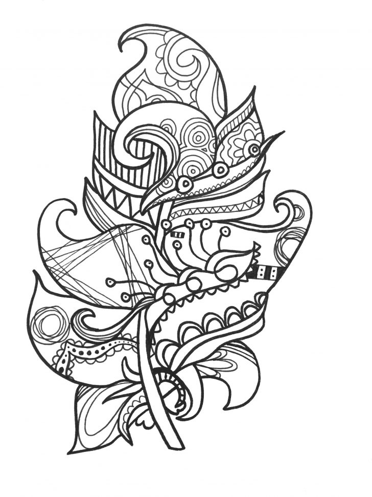 728x971 Feather Coloring Page