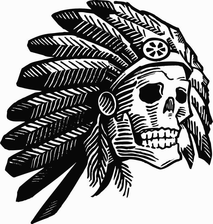706x741 American Indian Headdress Chief Skull Face Printable Image