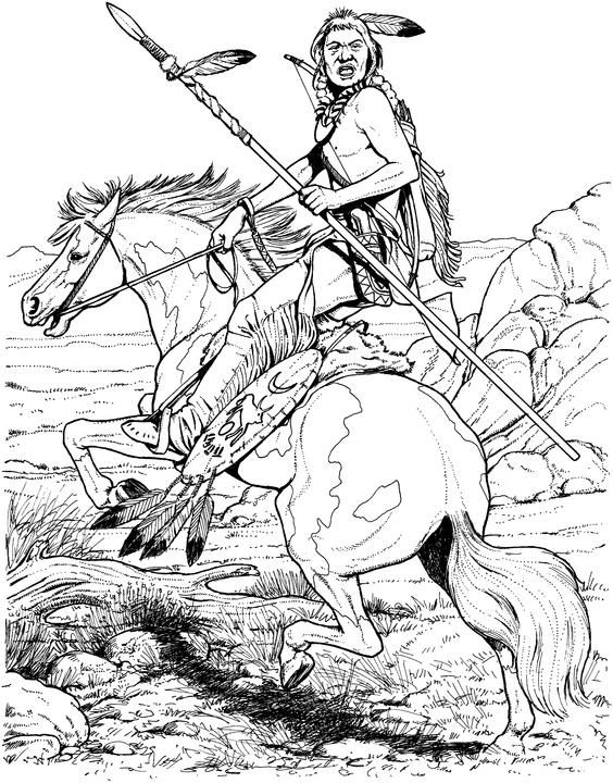 564x720 Native American Designs Coloring Pages Native American On Horse