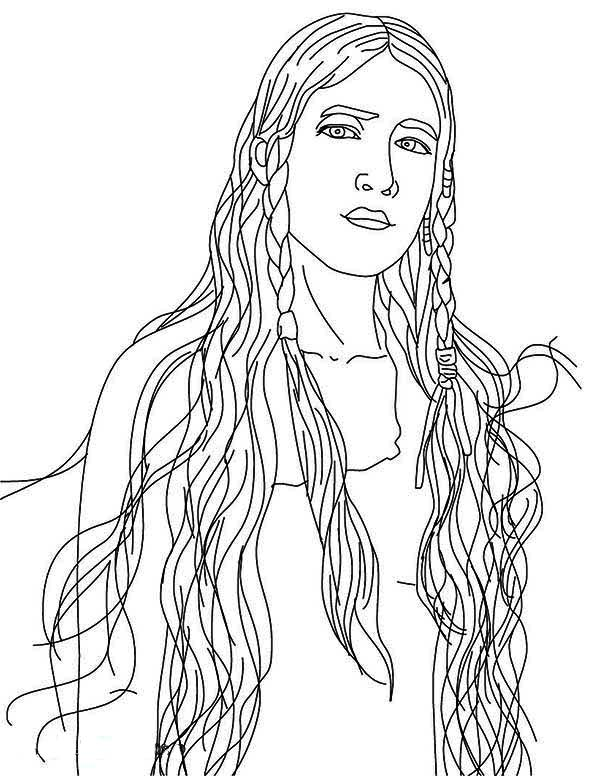 600x776 Native American, Beautiful Native American Girl Coloring Page