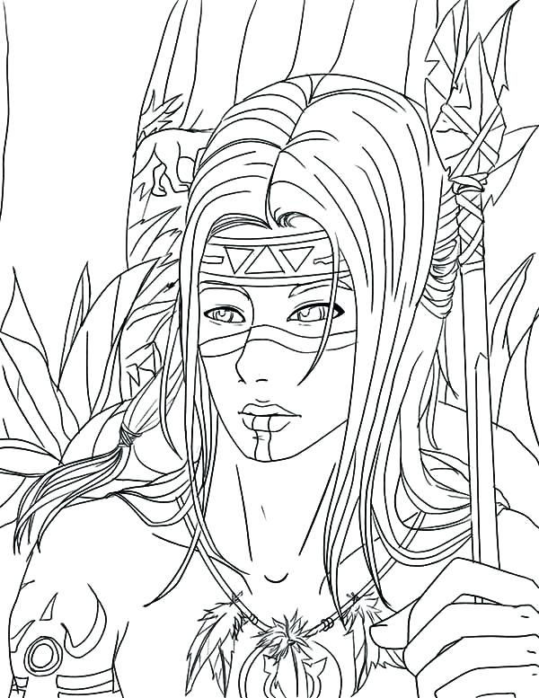 600x777 Indian Coloring Page Native Coloring Pages Native Warrior Coloring