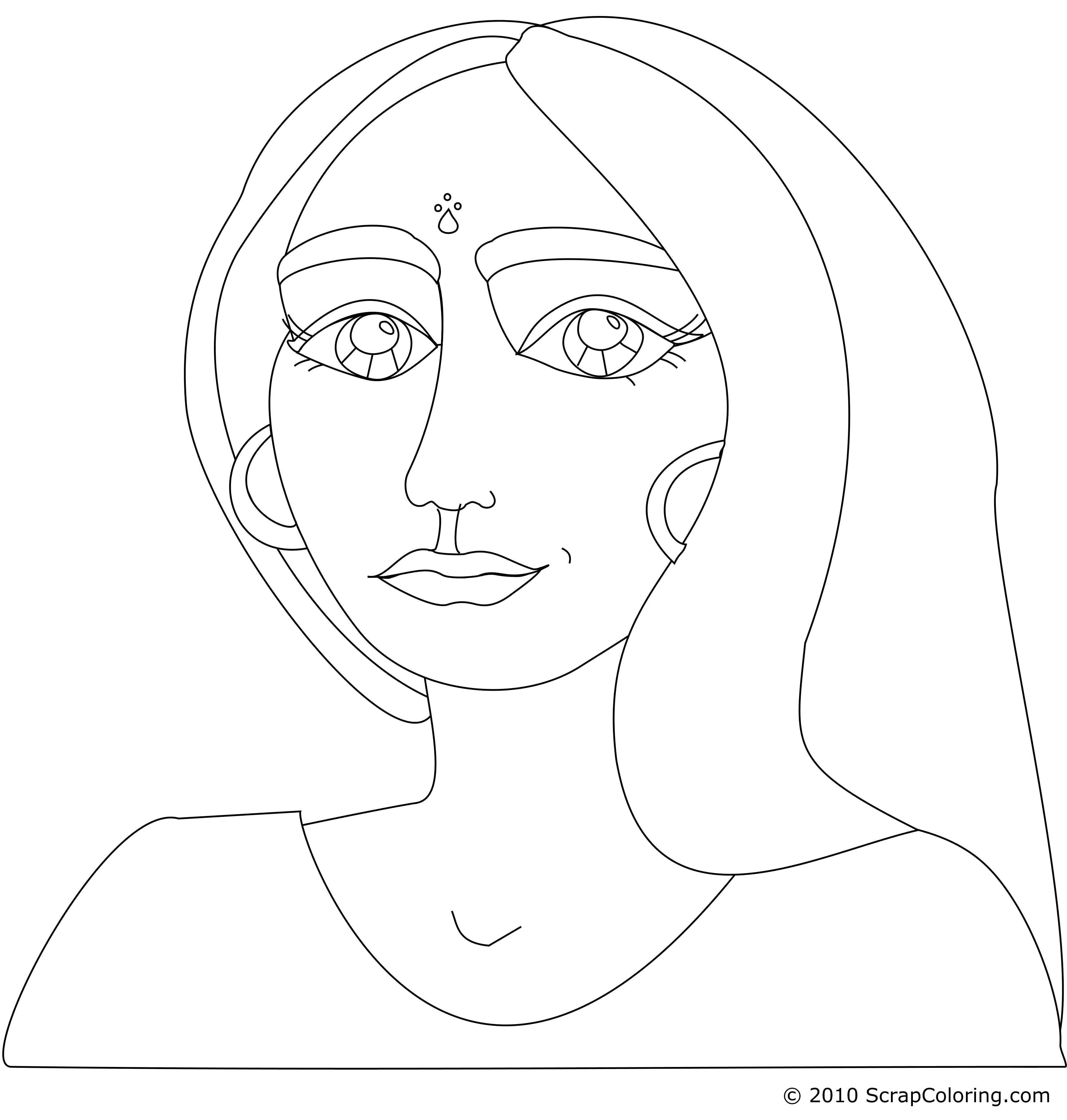 3600x3780 Fresh Young Indian Woman Coloring Page