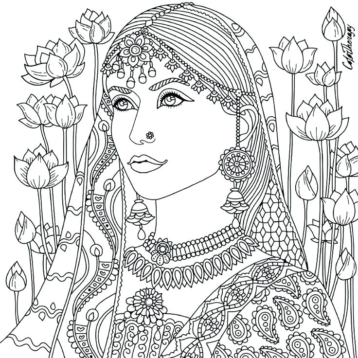 736x736 Indian Color Pages Coloring Pages Free Woman Adult Indian Coloring
