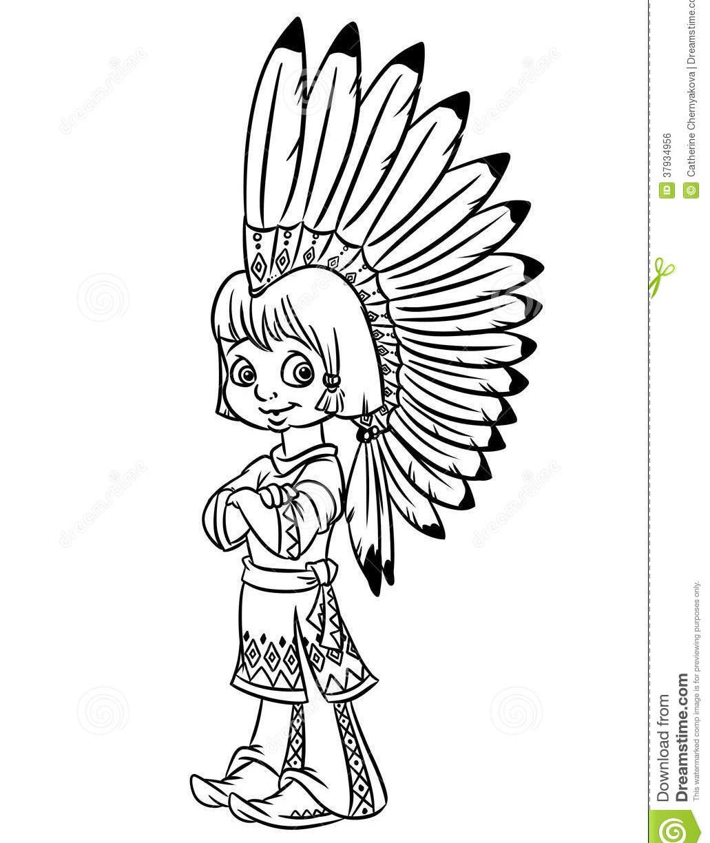 1031x1224 Indian Costume Coloring Page Outlined Girl Sari Vector