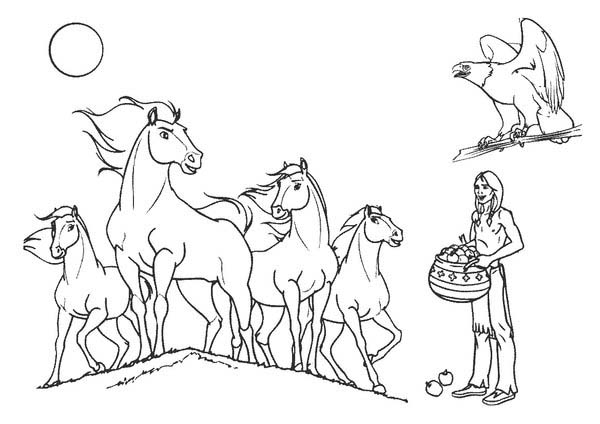 600x424 Indian Horses Coloring Page