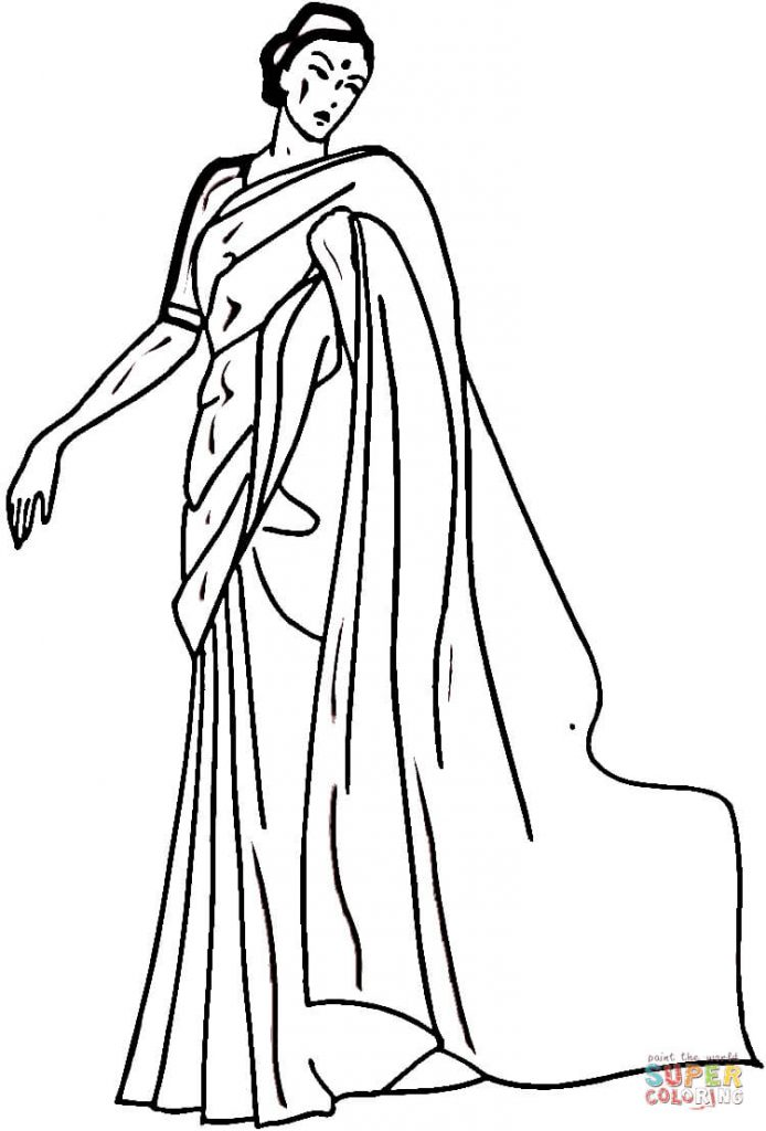 694x1024 Indian Woman Image Coloring Page