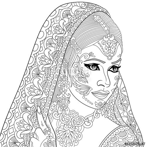 500x500 Zentangle Stylized Cartoon Indian Woman, Isolated On White