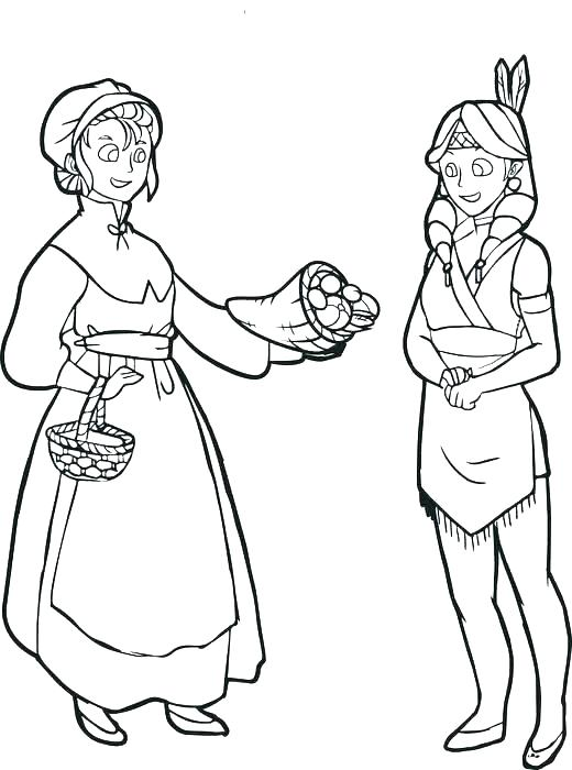 520x700 Pilgrim And Indian Coloring Pages Thanksgiving