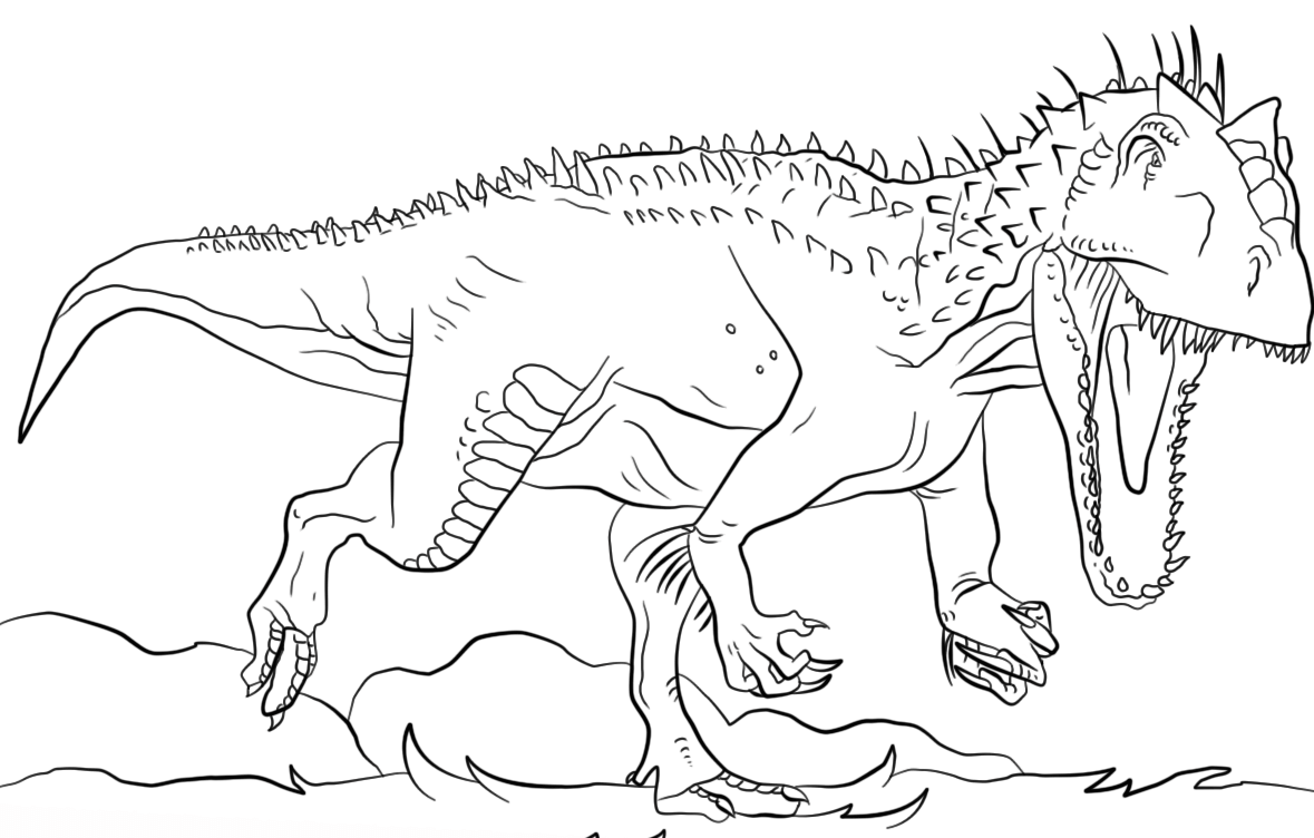 1179x752 Jurassic Park Indominus Rex Coloring Page Free Printable Striking