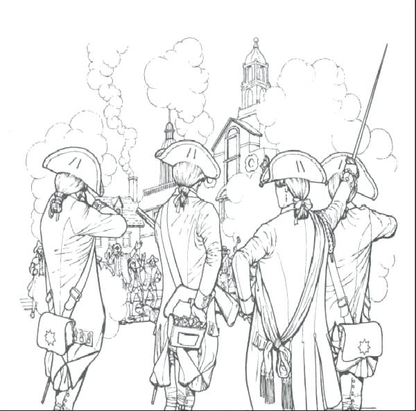 600x592 American Revolution Coloring Pages History Revolutionary War