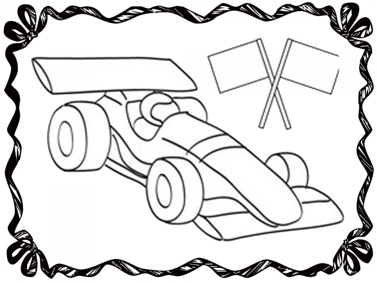 1280x960 Blank Coloring Sheets Race Car Page