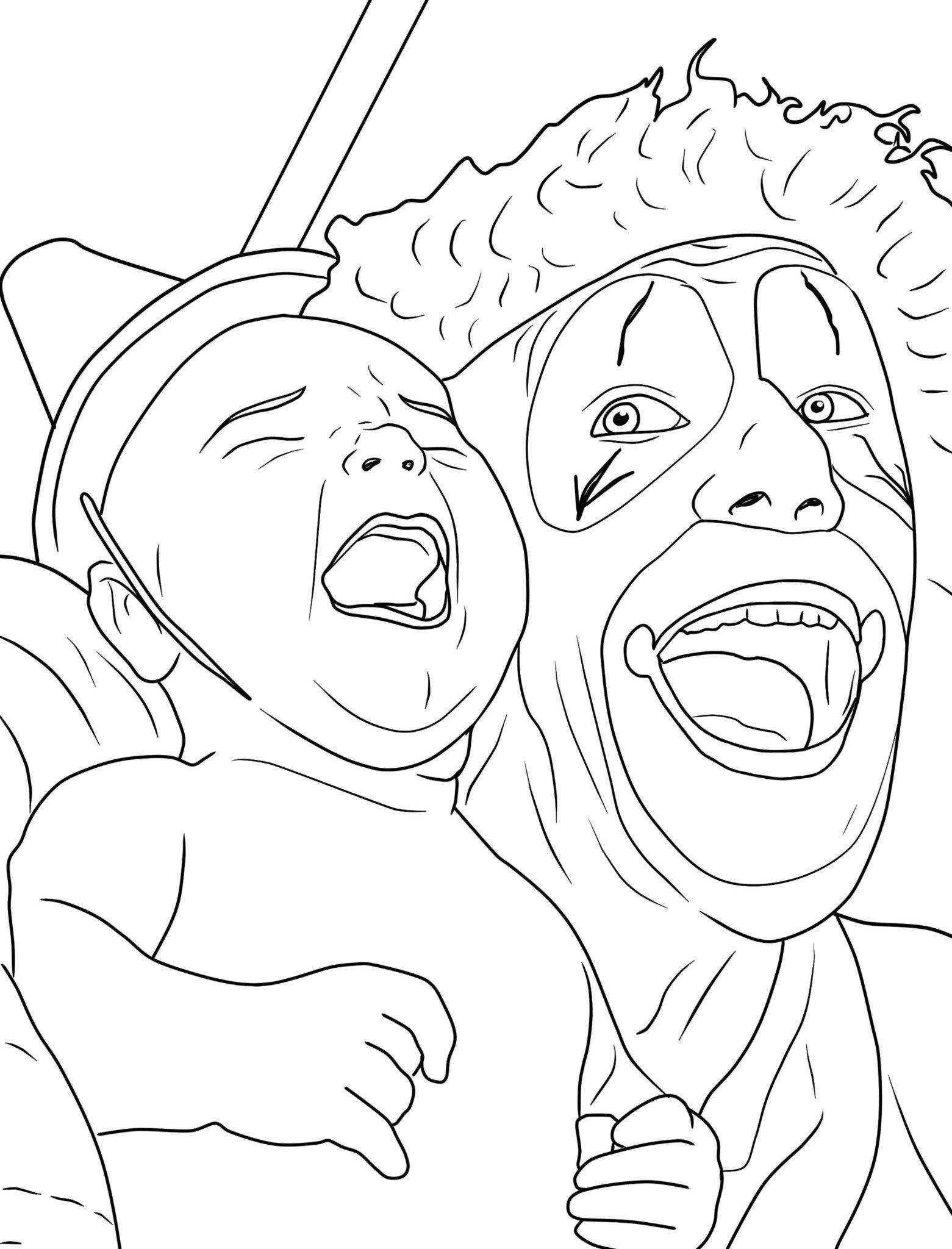 1561x2048 Creepy Clown Adult Coloring Book Creepy Clown, Coloring Books