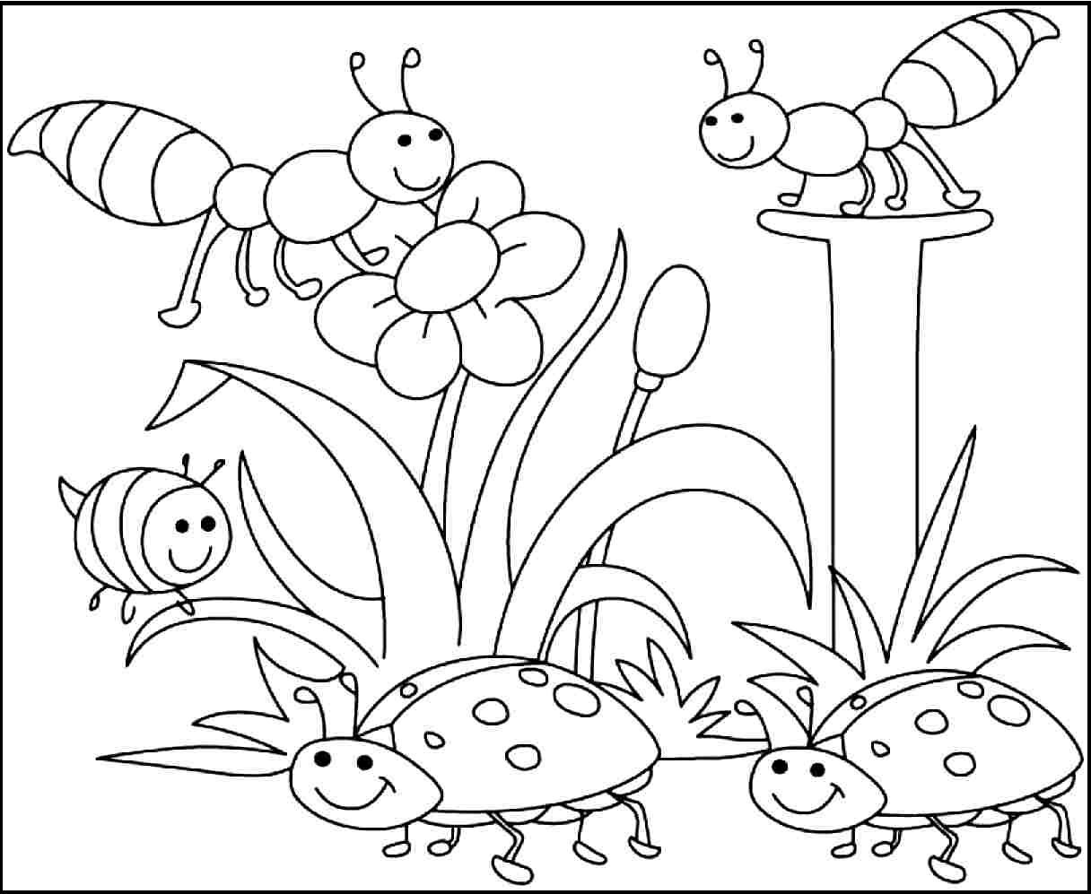 1216x997 Insects Pleased With Spring Day Coloring Picture For Kids Spring