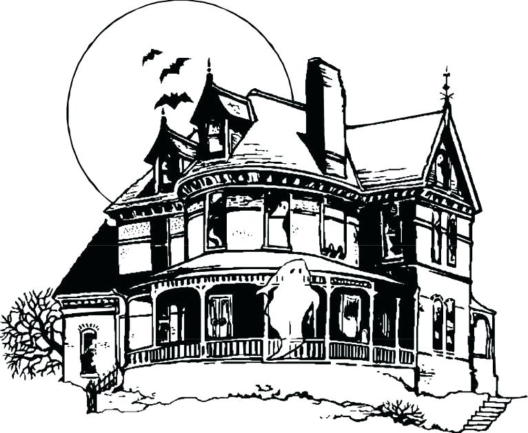 766x629 Haunted House Coloring Page Haunted House Printable Kids Coloring