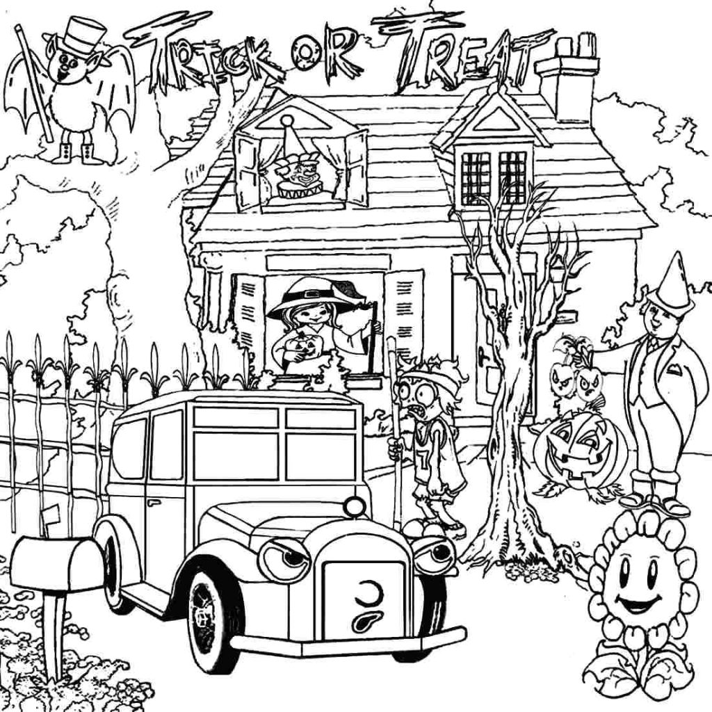 1024x1024 Haunted House Coloring Page Spooky Photo