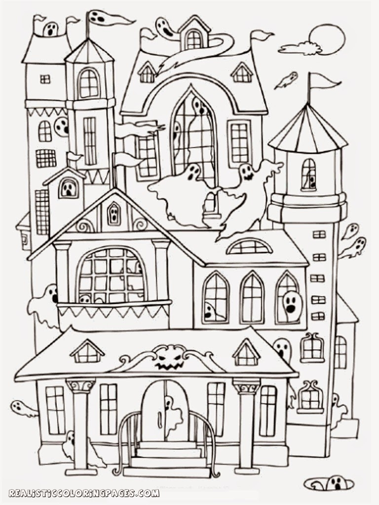 768x1024 Haunted House Coloring Pages To Print Coloring For Kids