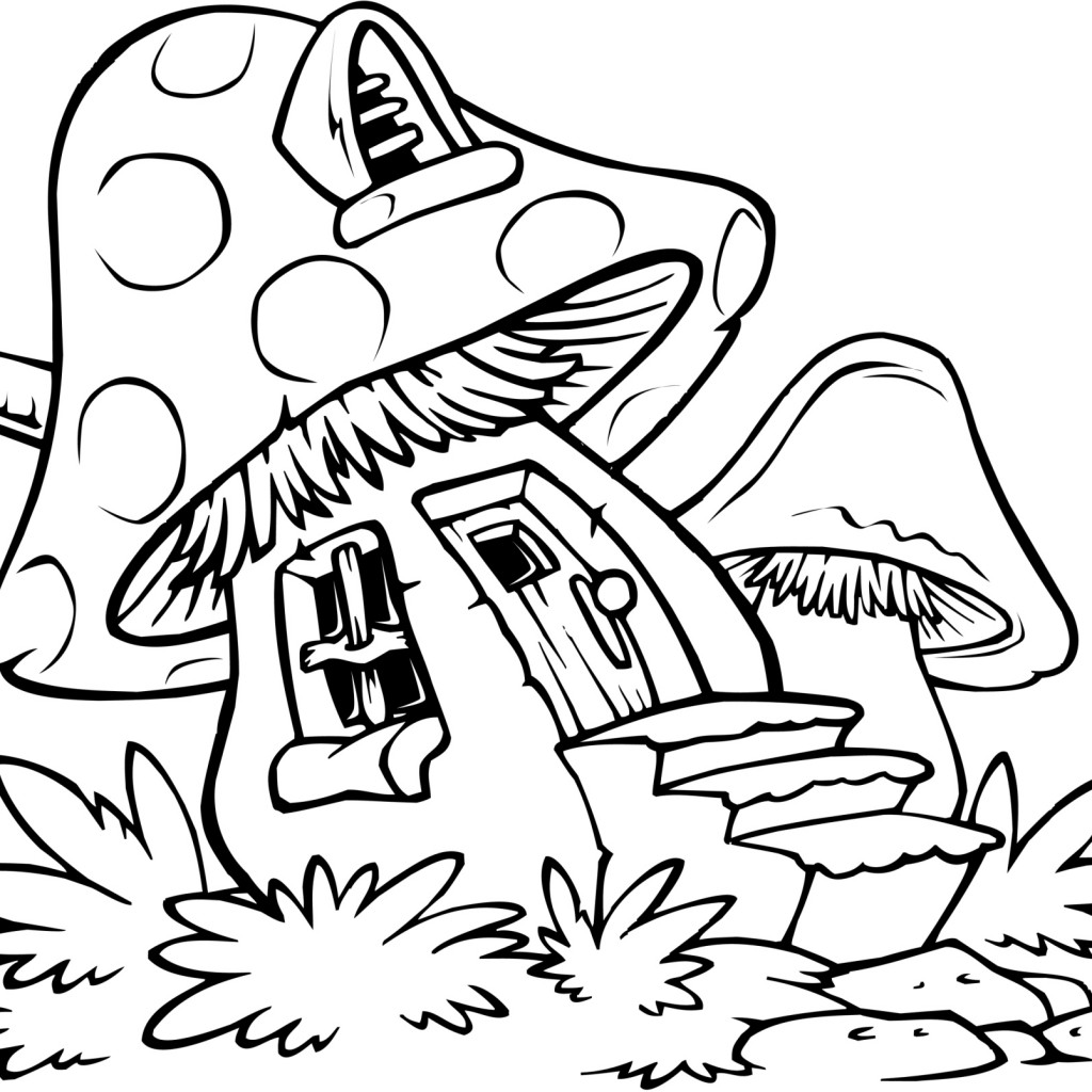 1024x1024 Mushroom House Coloring Pages Inside Page