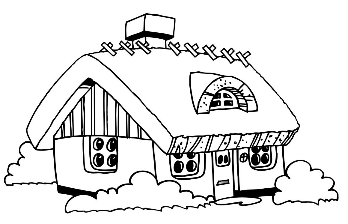 1161x747 Plain Design House Coloring Page Free Printable Pages For Kids