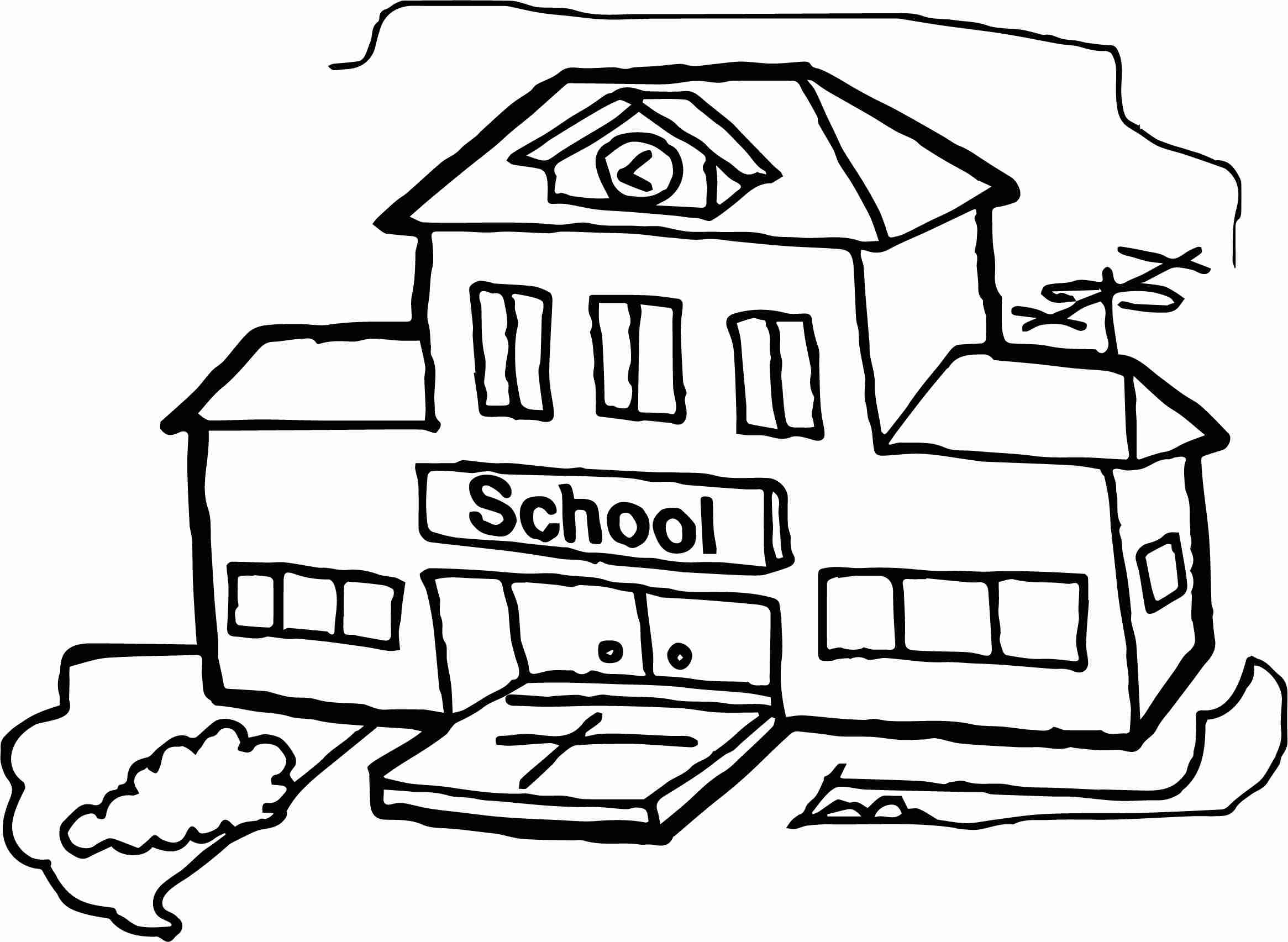 2331x1705 Schoolhouse Coloring Page Free Download Inside School House