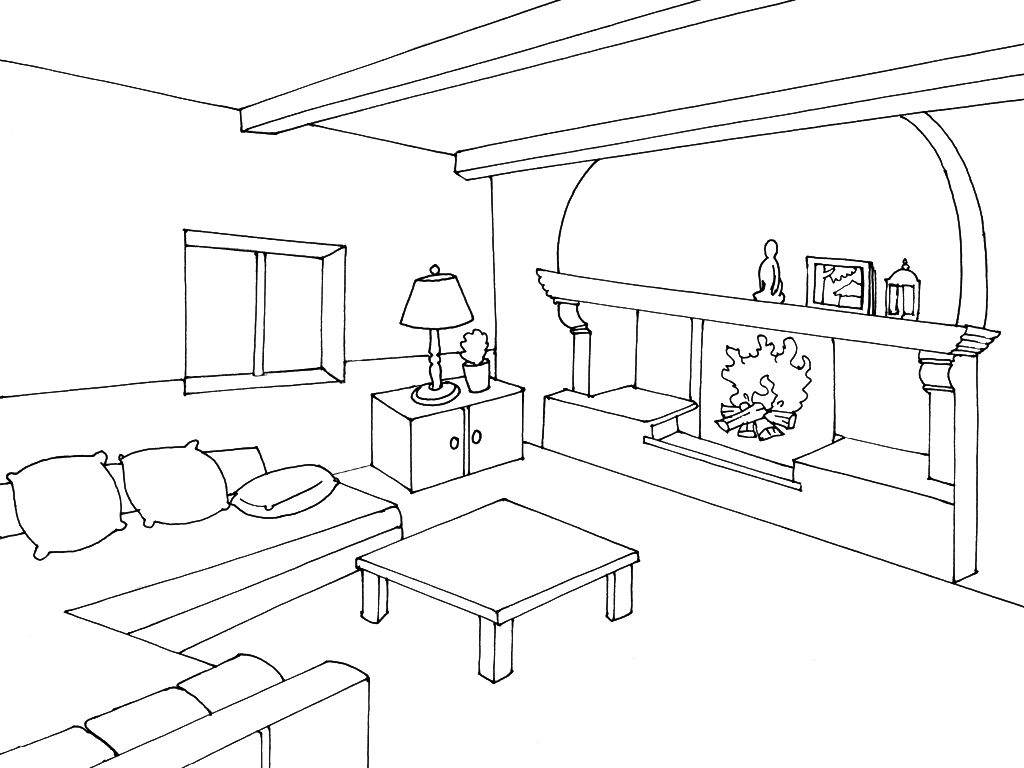 1024x768 Bedrooms Inside A House Coloring Pages