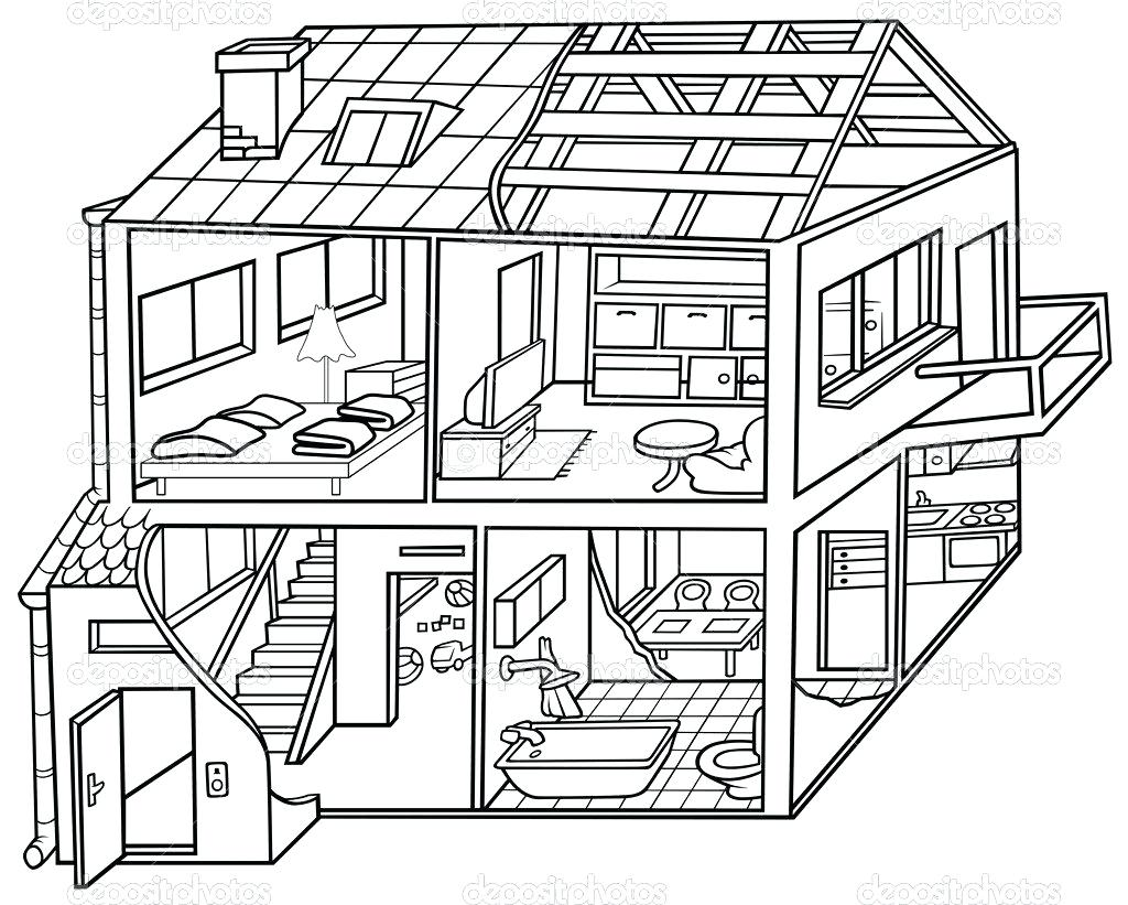 1024x821 Coloring Pages Online Disney Drawing Inside The House Modern Cute