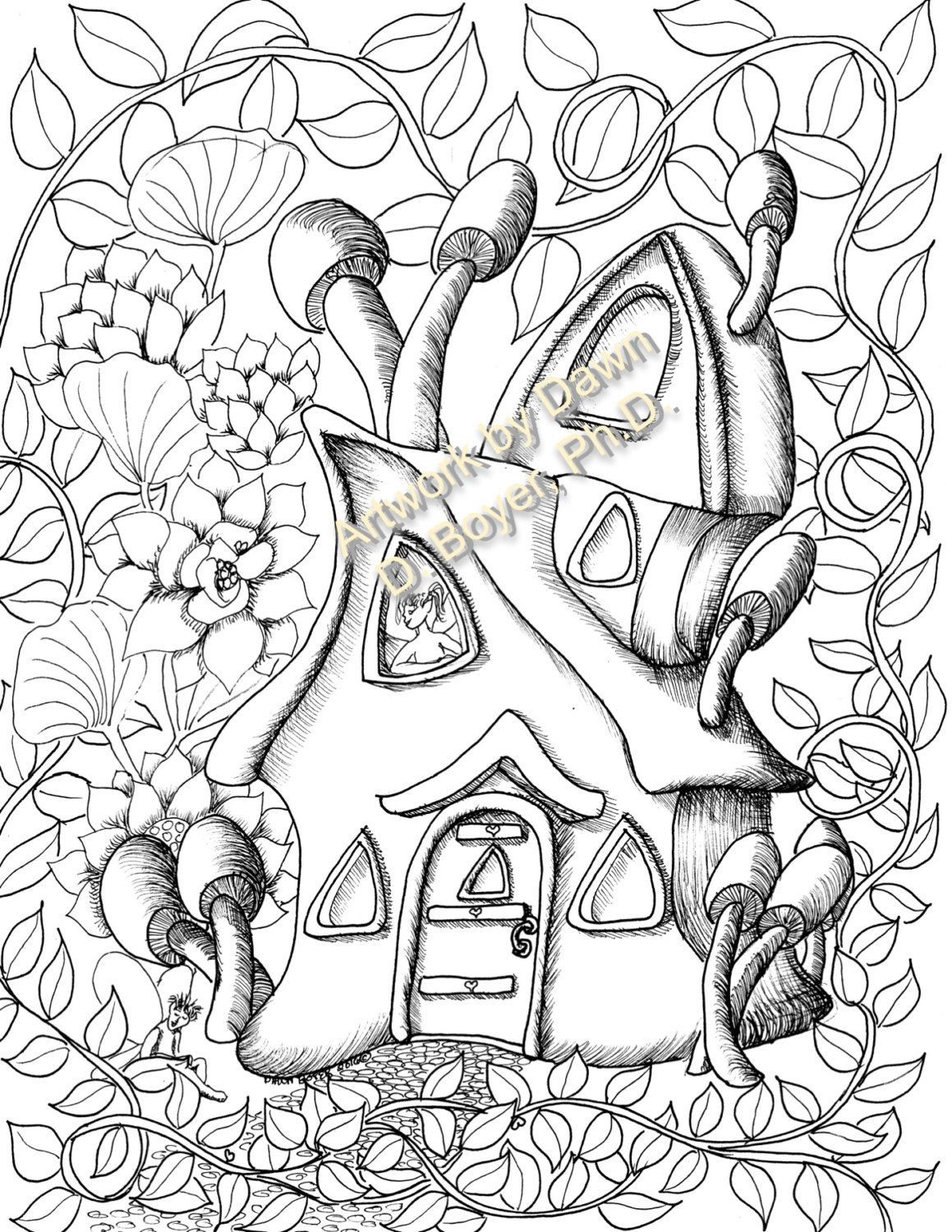 1159x1500 Fairy Houses And Doors Vol Individual Coloring Pages Inside