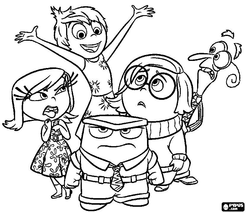 830x717 Inside Out Coloring Pages Five Emotions