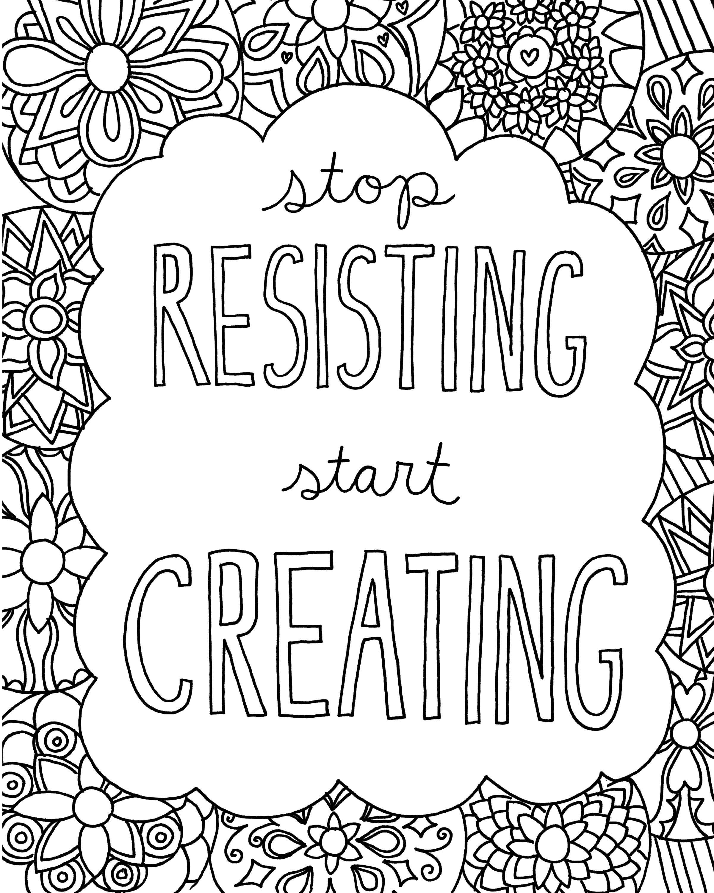 2400x3000 Free Printable Quote Coloring Pages For Grown Ups Download Free